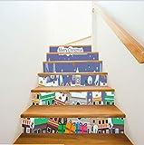 Calcomanías de Navidad para decorar escaleras Ambiente navideño de la ciudad Pasos decorativos adhesivos de pared 100 * 18cm * 6psc