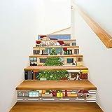 Calcomanías de Navidad para decorar escaleras Papá Noel en el techo Calcomanías decorativas de pared para escaleras