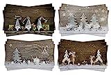Logbuch-Verlag 12 postales de Navidad XXL, diseño con motivos rústicos fotográficos con aspecto de madera, 4 diseños, 3 unidades por cada diseño, color plateado, gris, blanco y marrón natural (idioma español no garantizado)