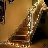 Uping Guirnalda luminosa decorativa de 200 LED 22 m Cadena de luces Blanco cálido con Clavija de Transformador integrado de baja tensión DC 31V Perfecto para Navidad Fiestas Bodas Jardín