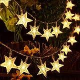 HOMVAN Luces de Estrellas 40 LED Estrellas 5M Baterías Powered Decorativo Blancas de Luz Cálida Luces para la Navidad, Fiesta, Jardines, Casas, Boda