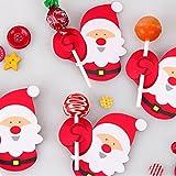Decoraciones de Hunpta con diseño de Papá Noel para piruletas, 50 unidades