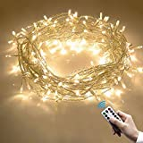 Cadena de Luces, 10m 100 LEDs Guirnalda de Luces Blanco Cálido 8 Modos de iluminación con Control Remoto y temporizador para Navidad Fiesta Jardín Boda Decoración
