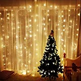 Cortina de luces LED, AGM 3 * 3M 300LEDs luces de Navidad al aire libre con 8 modelos de lluminación, impermeable IP55 para la decoración de fiestas/bodas/Navidad (tono blanco cálido)