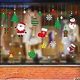 Paquete de 2 Pegatina de Navidad, Zenoplige 50*70 CM Vinilos Stickers Año Nuevo Navidad Pegatinas Perfecto para Decorar Las Ventanas de Tienda Cafetería Casa.