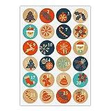 24 pegatinas retro para Adviento con los números 1-24 en símbolos navideños, azul naranja, calcomanías de papel mate para calendarios de Adviento, regalos de Navidad, etiquetas (ø 45 mm)