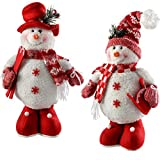 WeRChristmas-Figura Decorativa de pie decoración de Navidad muñecos de Nieve, 33cm, Color Rojo/Blanco, Juego de 2