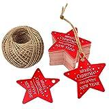 Etiquetas de papel para regalos de Navidad, 100unidades, 5,3cm x 5,3cm, perfectas para hacer manualidades, con forma de estrella