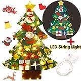 Fieltro Árbol de Navidad, Funpa DIY Decoración del árbol de Navidad Decoración Colgante para Niños Regalo de Navidad con 30PCS Ornamento de Adorno LED Luces de Navidad