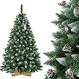 FairyTrees Árbol de Navidad Artificial Pino, Natural de Blanco Nevado, Material PVC, verdadera Piñas, Incluye Soporte de Metal, 180cm, ft04-180