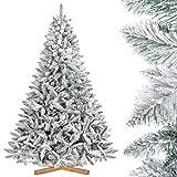 FairyTrees Artificial Árbol de Navidad Artificial Picea, Flocado con Copos DE Nieve, el Tronco Verde, Material PVC, Soporte de Madera, 220cm