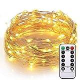 cuzile luces de alambre Impermeable 100 Leds 10M 33FT Longitud con Mando de 8 modos de cambia las formas de brillantes de luz LED de cadena en interiores o exteriores decorar para casa la Navidad boda