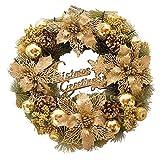 Leafii's 30 cm (sin luz) 2018 decoración de Moda navideña Corona de Navidad Flor Dorada de Navidad Exquisita Puerta Ventana Colgante