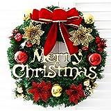 fghfhfgjdfj Corona de Navidad Árbol de Navidad Anillo Redondo Hecho A Mano Elegante Guirnalda Navideña Corona de Pino Puerta de la Pared Guirnalda Decoración