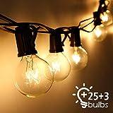 Cadena de Luces, Qomolo G40 Exterior Guirnalda Luces Con 25 Bombillas Y 3 Bombillas de Repuesto, 30ft Cable, Decoración Luz Interior y Exterior para Patio, Jardín, Fiesta, Bodas, Navidad
