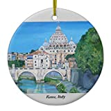 Sar54ryld Roma Italia Adornos de Navidad Porcelana cerámica para Decoraciones de Navidad Interior Home Gifts
