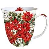 Ambiente Taza de Navidad Taza China de Hueso Fino 0.4 litros Flor de Pascua por Todas Partes