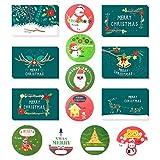 24 tarjetas de Navidad con 48 pegatinas de Navidad, tarjeta de felicitación de Navidad para familiares, amigos, clientes, sobres incluidos