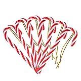 Naler 12 Bastones de Caramelo Adornos para Árboles de Navidad Muletas Plásticas Colgante de Decoración con Cordón Rojo y Blanco