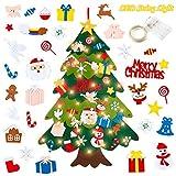 ZWOOS Árbol de Navidad Fieltro con 5m Guirnalda Luminosa y 32 Piezas Adornos - Decoración navideña DIY - Decoración para Colgar en la Pared