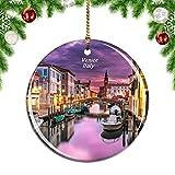 Weekino Canal Venecia Italia Decoración de Navidad Árbol de Navidad Adorno Colgante Ciudad Viaje Colección de Recuerdos Porcelana 2.85 Pulgadas