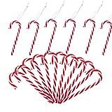 Gudotra 24 pcs Bastones de Caramelo Navidad Rayas Rojas y Blancas Decoración para Árboles Navidad Decoraciones Navideñas 12.5 X 3.7cm