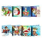 DERCLIVE 8 paquetes de tarjetas de felicitación de navidad 5d diy kit de saludo de pintura de diamantes para amigos de vacaciones familiares tamaño plegable 15 * 15 cm