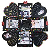 VEESUN Caja de Regalo Creative Explosion Box, DIY Álbum de Fotos Scrapbook 15x15x15cm Caja Fotos, San Valentin Navidad Regalos Originals Artesanales Mujer Hombre Novio Niña Niños, Negro