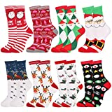 Fansport Calcetines Navideños,8 Pares Navidad de Invierno Calcetines de Algodón Cálidos Calcetines Navidad para Mujer Regalo Calcetines para Adultos