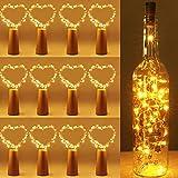 12 Pack luz de Botella,luces led para Botellas de Vino 2m 20 LED a Pilas Decorativas Cobre Luz para Romántico Boda, Navidad, Fiesta, Hogar, Exterior, Jardín,luz Corcho (Blanco Cálido)