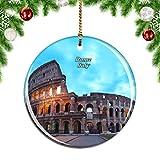 Weekino Italia Coliseo Roma Decoración de Navidad Árbol de Navidad Adorno Colgante Ciudad Viaje Colección de Recuerdos Porcelana 2.85 Pulgadas