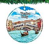 Weekino Italia Ponte Rialto Venecia Navidad Ornamento Ciudad Viajar Recuerdo Colección Doble Cara Porcelana 2.85 Pulgadas Decoración de árbol Colgante