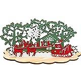 Inntek Adornos Navideños de Madera, Adornos Navideños de Mesa de 26,5 x 12,8 cm, Adornos de Árbol de Trineo de Papá Noel y Renos, Decoración Mesa, Centro de Mesa Navideño