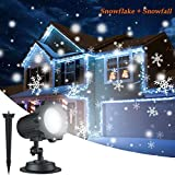 Proyector LED Exterior De Navidad para facade, iluminación de los copos de nieve impermeable Ideal para la decoración de Navidad, Halloween a la fachada de la casa, en el jardín, sobre el techo etc.