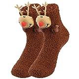 VBIGER Calcetines de Navidad Invierno Calcetines de Piso Vellón de Coral Abrigados para Hombres y Mujeres