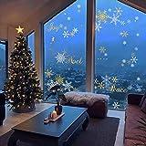 decalmile Pegatinas de Navidad Copos de Nieve Pegatinas de Pared Calcomanías de Ventanas Escaparate Tienda Navidad Decoración (Oro y Plata)