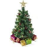 Prextex miniárbol de Navidad casero de sobremesa de 58 cm con Cajas de Regalo Decoradas, Adornos Colgantes y Estrella para lo Alto del árbol para una decoración navideña casera