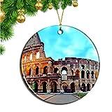 Hqiyaols Ornament Italia Coliseo Roma Navidad Adornos Colgantes Pieza Cerámica Recuerdo Ciudad Viaje Regalo