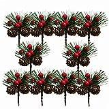 Amosfun 10 Piezas Rama de Pino Artificial con Piña de Navidad Bayas Rojas Adorno de Árbol de Navidad Decoración de Mesa de Navidad