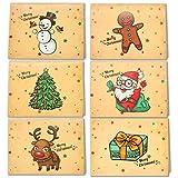 LEHOUR 30 PCS Tarjetas de Feliz Navidad Tarjetas de Renos de la Serie Santa con Sobres y Calcomanías para el Saludo Navideño (Papá Noel)