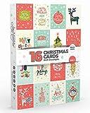 Joy Masters - 16 Tarjetas de Navidad | Caja de Christmas Surtidos con SOBRES | Diseños Clásico - Gran Combo para Hombres y Mujeres - Vol. 1