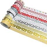 k-limit 10Set Washi Tape Rollos de Washi Tape, Cinta Decorativa Autoadhesivo, Cinta de enmascarar, Masking Tape Scrapbooking DIY Scrapbooking DIY Navidad Christmas Idea del Regalo 9158