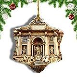 Weekino Italia Trevi Fuente Roma Decoración de Navidad Árbol de Navidad Adorno Colgante Ciudad Viaje Porcelana Colección de Recuerdos 3 Pulgadas