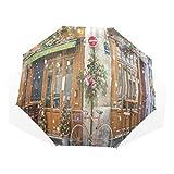 LASINSU Paraguas Resistente a la Intemperie,protección UV,Bicicleta estacionada en típicos cafés parisinos Decorados para Las Vacaciones de Navidad en Francia