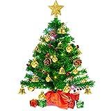 Árbol de Navidad Pequeño 50CM, Árbol de Navidad Artificial con Luces de Hadas a Pilas, Adorno de Estrella, Bolas, Campanas, Bayas, Piñas, Mini Árbol de Navidad Decoración para mesa, oficina Interior