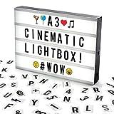 The Body Source Cosi Home ™ - Caja de luz LED en Formato A3 con Letras, Emoji, emoticonos y símbolos para Mensajes Personalizados. Alimentado por batería y USB