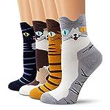 Ambielly calcetines de algodón calcetines térmicos Adulto Unisex Calcetines (4 Gatos)