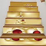 Etiquetas engomadas de la escalera Renovación Impermeable DIY Etiqueta de la pared Pegatinas de Navidad para decorar escaleras Navidad campanas de oro etiqueta de la pared del pvc