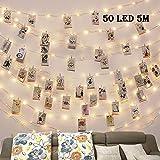 Clip Cadena de Luces LED,LECLSTAR 5m 50 LED Fotoclips Guirnalda de Luces,ideal para Hogar, Pared, Navidad, Fiesta, Boda,Decoraciones de Dormitorio(50 Clips)