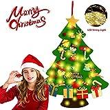 G-TASTE Árbol de Navidad de Fieltro DIY Árbol de Navidad Creativo Hecho a Mano con 30 Luces LED 30 Piezas Adornos para niños Decoración de la Pared de la Puerta del hogar